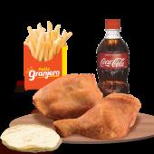 Combo: 2 Pz (Cuarto y Muslo) + 1 Papa + Coca Cola 355ml
