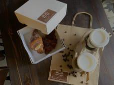 კრუასანი კრემით+ყავა
