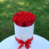 Trandafiri criogenati in cutie rotunda alba