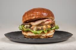 100% beef & bacon burger