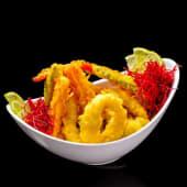 Tempura vegetales con mariscos