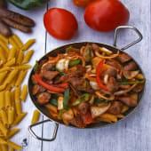 Red Sauce Pasta with Hot Dog  باستا بالصوص الاحمر والهوت دوج