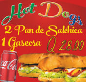 2 panes de salchicha + Coca-Cola (330 ml.)