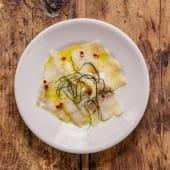 Carpaccio di baccala spagnolo marinato