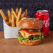 Promo 4 - Una Hamburguesa con Queso con Papas y Gaseosa