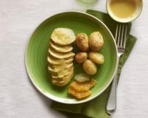 Tacchinella agli agrumi con patate novelle al forno e riso venere