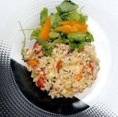 Posh risotto cu legume și ouă de prepeliță