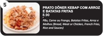 Prato Doner Kebap com Arroz e Batata Fritas