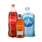 Ron barcelo gran añejo 1.750 lt + coca cola 3 lt + hielo iglu 1.5 kg