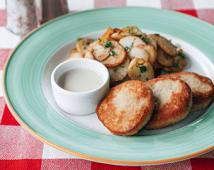 Котлети з індички з гірчичним соусом та смажена картопля (170/200/50г)