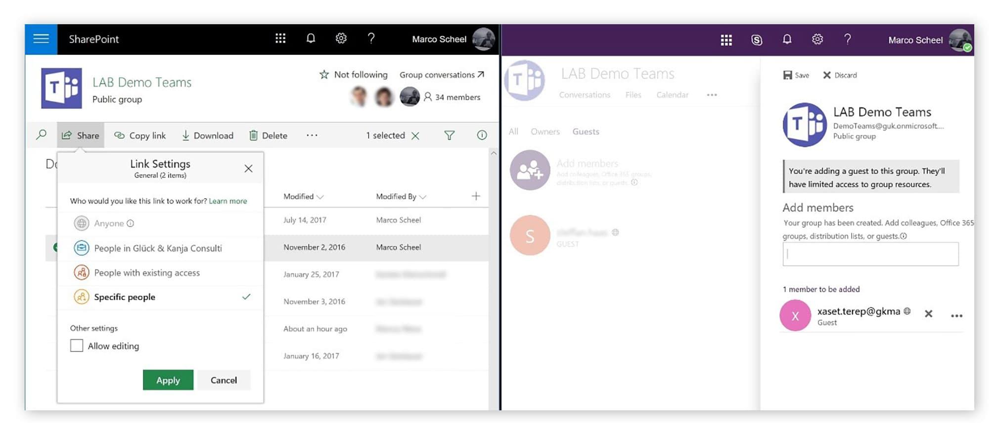 Links: Teilen einer Datei auf SharePoint, Rechts: Einladen eines Gates in eine Office 365 Group
