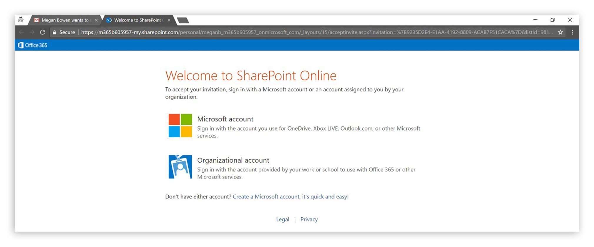 Login mit Organizational Account oder Microsoft Account