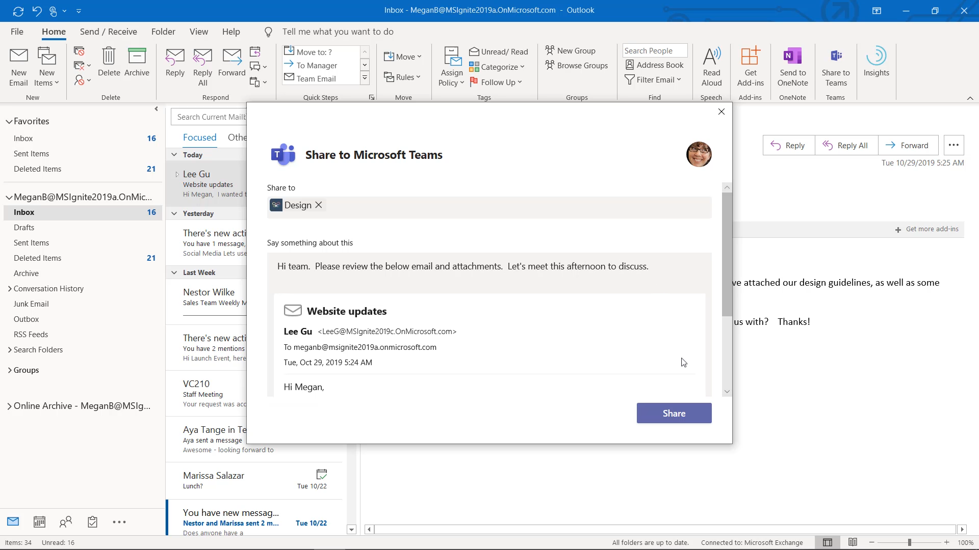 New integration between Outlook and Teams