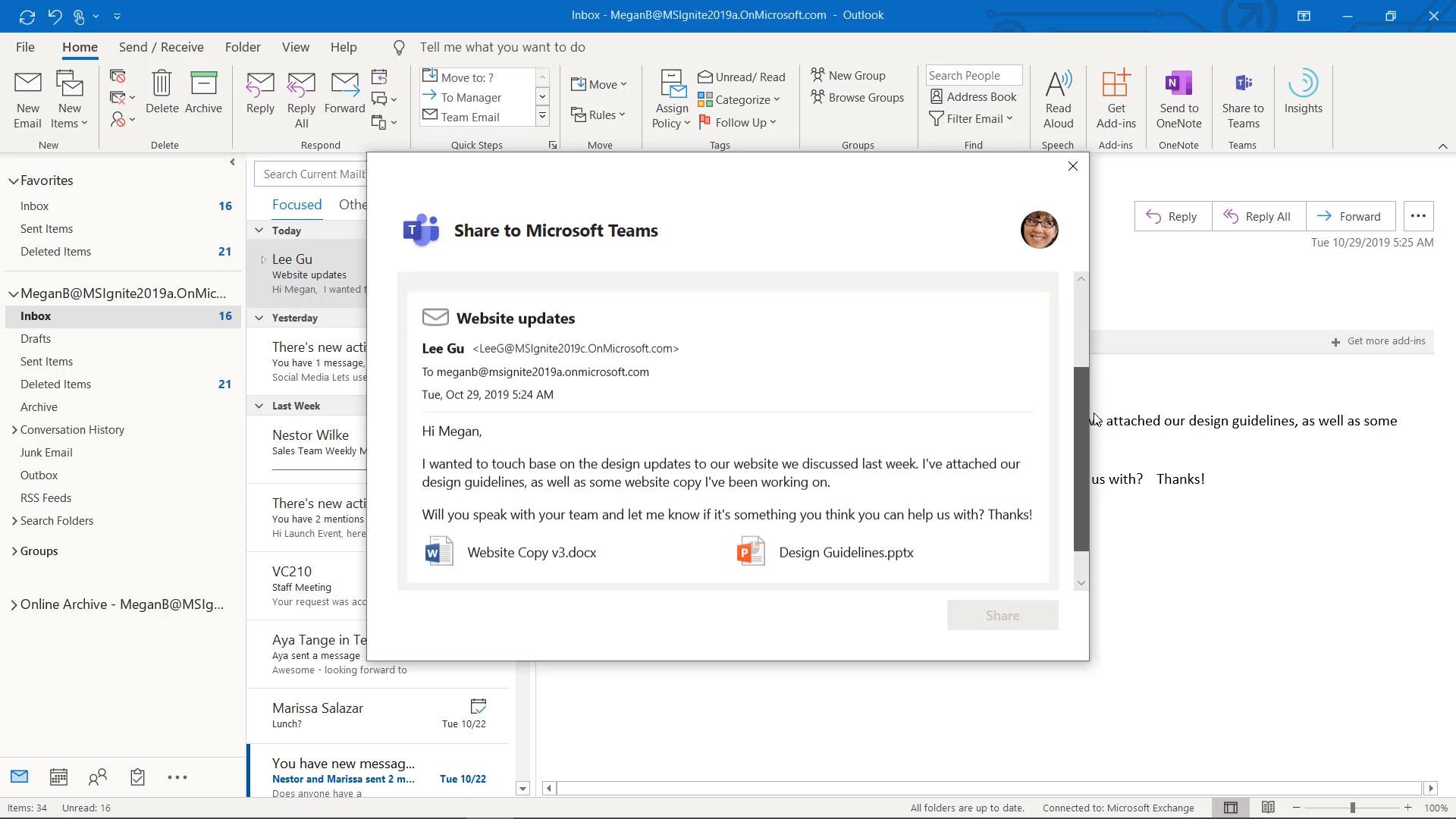 Integration zwischen Outlook und Teams