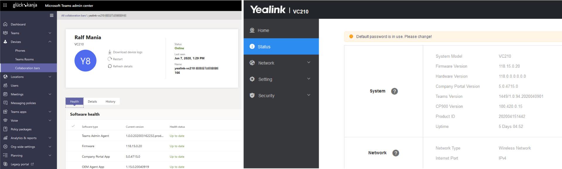Yealink Language und Remote Control