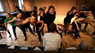 Glyndebourne Youth Opera Chorus in rehearsal with Karen Edwards (Choreographer)