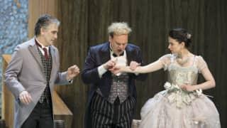 Der Rosenkavalier 2014, Herr von Faninal (Michael Kraus), Baron Ochs (Lars Woldt) and Sophie (Teodora Gheorghiu).