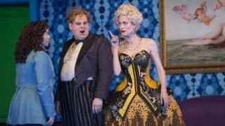 Der Rosenkavalier 2014. Octavian (Tara Erraught), Baron Ochs (Lars Woldt) and the Marschallin (Kate Royal).