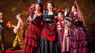 Carmen, Glyndebourne Festival 2015. Mercédès (Rihab Chaieb), Carmen (Stéphanie d'Oustrac) and Frasquita (Eliana Pretorian).