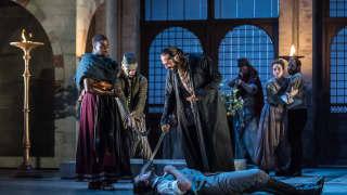 Glyndebourne Tour 2015, Die Entführung aus dem Serail. Belmonte (Benjamin Bliss) and Pasha Selim (Franck Saurel). Photographer: Clive Barda