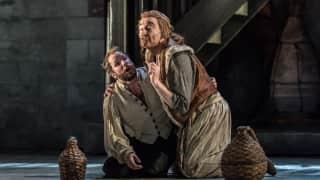 Glyndebourne Tour 2015, Die Entführung aus dem Serail. Pedrillo (James Kryshak) and Osmin (Clive Bayley). Photographer: Clive Barda