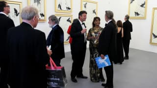 Gus Christie and Danielle de Niese at the White Cube at Glyndebourne launch.