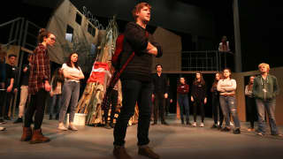 Glyndebourne Youth Opera perform alongside five professional singers including James Hall (Johan), pictured centre.