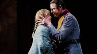 Carmen, Glyndebourne Festival 2015. Micaëla (Lucy Crowe) and Don José (Pavel Cernoch).