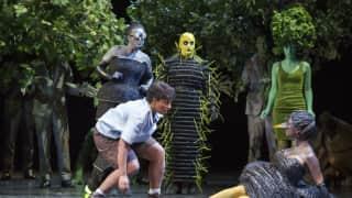 Glyndebourne Festival 2015, L'enfant et les sortilèges.  Child (Danielle de Niese) and Nightingale (Sabine Devieilhe). Photographer: Richard Hubert Smith