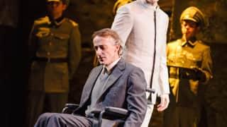 Poliuto, Glyndebourne Festival 2015. Felice (Timothy Robinson) and Poliuto (Michael Fabiano)