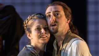 Glyndebourne Tour 2015, Die Entführung aus dem Serail. Konstanze (Ana Maria Labin) and Belmonte (Benjamin Bliss). Photographer: Clive Barda