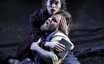 The Rape of Lucretia, Glyndebourne Festival 2015. Female Chorus (Kate Royal) and Male Chorus (Allan Clayton).  Photographer: Robbie Jack