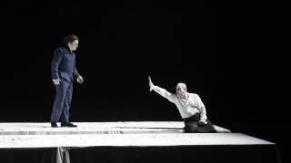 Saul, Glyndebourne Festival 2015. Jonathan (Paul Appleby) and Saul (Christopher Purves).Photographer Bill Cooper.