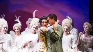 Don Pasquale, Glyndebourne Tour 2015. Norina (Eliana Pretorian) and Ernesto (Tuomas Katajala). Photographer: Tristram Kenton