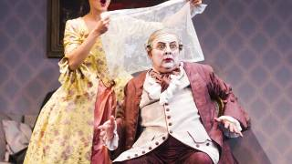 Don Pasquale, Glyndebourne Tour 2015. Norina (Eliana Pretorian) and Don Pasquale (José Fardilha). Photographer: Tristram Kenton