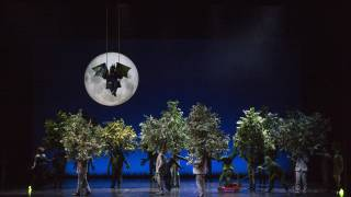 Glyndebourne Festival 2015, L'enfant et les sortilèges. Garden scene featuring Bat (Julie Pasturaud) and Tree (Lionel Lhote). Photographer: Richard Hubert Smith