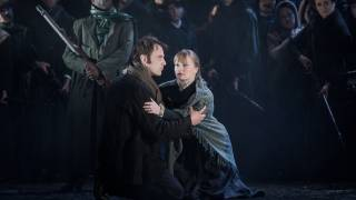 Carmen, Glyndebourne Festival 2015. Don José (Pavel Cernoch) and Micaëla (Lucy Crowe).