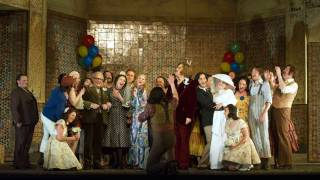 The ensemble cast celebrate the wedding of Figaro (Vito Priante) and Susanna (Lydia Teuscher), Le nozze di Figaro 2012.