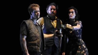 The Rape of Lucretia, Glyndebourne Festival 2015. Tarquinius (Duncan Rock), Male Chorus (Allan Clayton) and Female Chorus (Kate Royal).