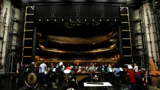 …before setting up their instruments on the Glyndebourne stage to begin rehearsals.