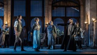 Glyndebourne Tour 2015, Die Entführung aus dem Serail. Front row, left to right: Belmonte (Benjamin Bliss), Konstanze (Ana Maria Labin) and Pasha Selim (Franck Saurel). Photographer: Clive Barda