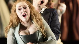 Saul, Glyndebourne Festival 2015. Michal (Sophie Bevan) and David (Iestyn Davies) Photographer Bill Cooper.