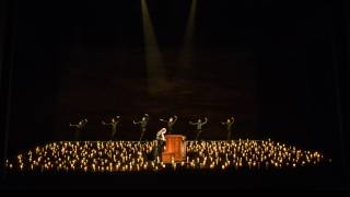 Saul, Glyndebourne Festival 2015. Part II scene - solo organist, James McVinnie and dancers.  Photographer Bill Cooper.