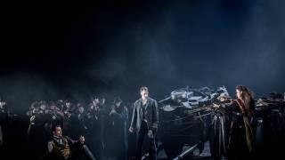 Carmen, Glyndebourne Festival 2015. Front trio l – r Escamillo (David Soar), Don José (Pavel Cernoch) and Carmen (Stéphanie d'Oustrac).