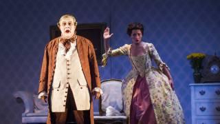 Don Pasquale, Glyndebourne Tour 2015. Don Pasquale (José Fardilha) and Norina (Eliana Pretorian).Photographer: Tristram Kenton