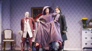 Don Pasquale, Glyndebourne Tour 2015. Don Pasquale (José Fardilha), Norina (Eliana Pretorian) and Dr Malatesta (John Brancy). Photographer: Tristram Kenton