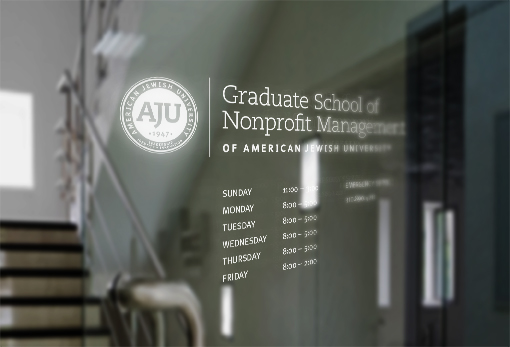 Logo engraved on class door