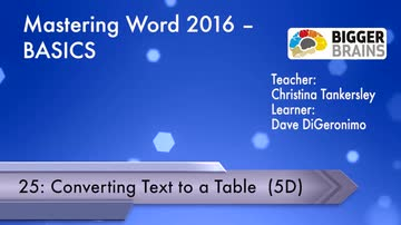 Mastering Word 2016 Basics: Converting Text to a Table