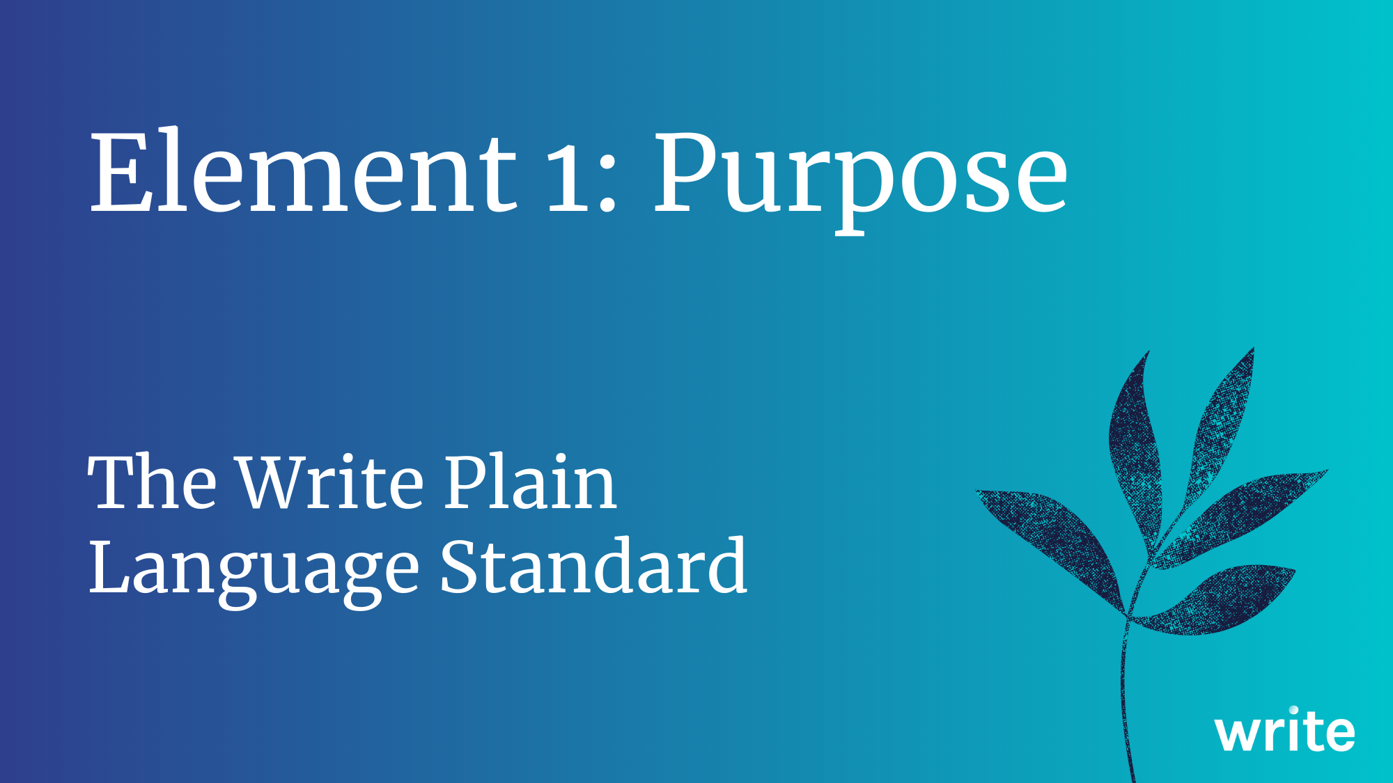 The Write Plain Language Standard: Purpose