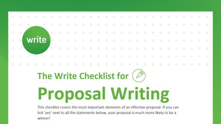 Write Checklist for Proposal Writing